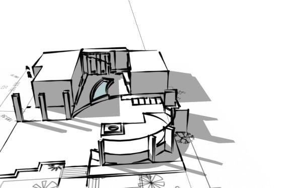 Garden at Dural perspective sketch